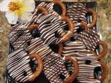 BOX OF 12  CARAMEL DIPPED CHOCOLATE COVERED BAVARIAN PRETZELS