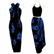 Hawaiian Hibiscus Print Floral Sarong-Blue on Black