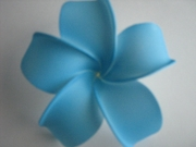 4 Inch Pointed Petal Plumeria Flower- Blue