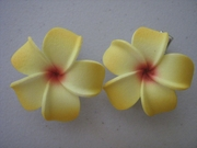2 pc Mini Pointed Petals Plumeria Flower Hair Clip Set   Yellow