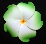 PLUMERIA FLOWER HAIR CLIP White w/ Green Tips