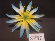 "4.3""  SPIDER LILY DOUBLE STRAIGHT PETALS FLOWER PICK-Yellow w/ Blue Tips"