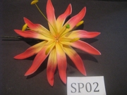 "4.3""  SPIDER LILY DOUBLE STRAIGHT PETALS FLOWER PICK-Yellow w/ Red Tips"