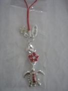 RED SEA TURTLE W/ RED PLUMERIA CELL PHONE CHARM
