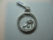 14k White Gold Circle Pendant with Floating Diamonds