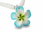 Hawaiian Plumeria Fimo Clam Shell Necklace Teal