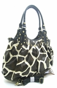 GIRAFFE PRINT STUDDED SHOPPER HANDBAG