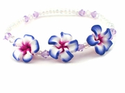 Hawaiian Plumeria Fimo Glass Bead Bracelet/Anklet Purple