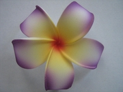 POINTED PETAL PLUMERIA FLOWER HAIR CLIP Purple Yellow