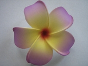 POINTED PETAL PLUMERIA FLOWER HAIR CLIP Purple Yellow Center