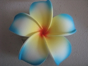 POINTED PETAL PLUMERIA FLOWER HAIR CLIP White w/ Blue Tips Yellow Center & Red Hub