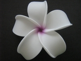 POINTED PETAL PLUMERIA FLOWER HAIR CLIP White Purple