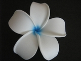 POINTED PETAL PLUMERIA FLOWER HAIR CLIP  White Blue Hub