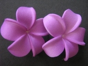 2 pc Mini Pointed Petals Plumeria Flower Hair Clip Set Purple