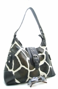 STYLISH GIRAFFE PRINT BUCKLE HANDBAG