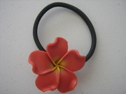 Red w/ Yellow Center Plumeria Pony O Elastic Hair Band