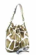 GIRAFFE PRINT DRAWSTRING SHOULDER HANDBAG