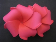 "2 "" Inch Curvy Petals Plumeria Flower Hair Clip Sherbet Pink w/ Red Center"
