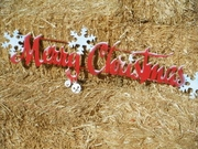 Large Vintage Style Merry Christmas with Snowflakes and Bells Metal