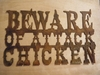 Rusted Metal Beware of Attack Chicken Wall Hanging