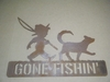 Rusted Metal Boy and Dog Gone Fishin  Sign