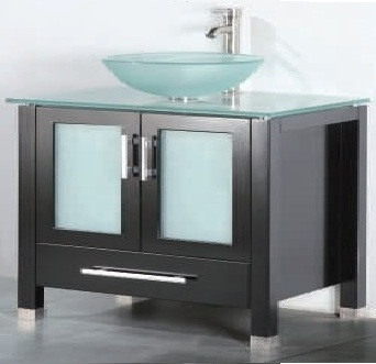 "36 inch Bathroom Vanity Frosted Vessel Sink Top Style Espresso Color (36""Wx21""Dx36""H) ADRIAN 36EG"