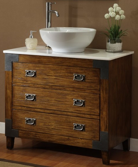 36 Inch Bathroom Vanity Vessel Sink Top Plantation Style Medium Brown Wx20 Dx32 H Ccf35535