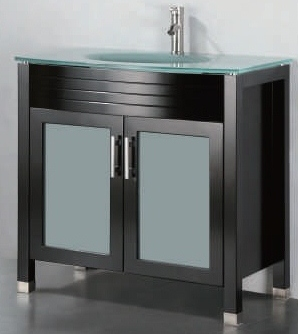 "36 inch Bathroom Vanity Glass Top Style Espresso Color (36""Wx22""Dx34""H) ADORA 36E"