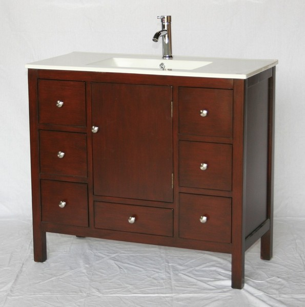 Inch Deep Cherry Bathroom Vanity Drawers White Porcelain