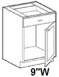 "Modular Bathroom Vanity Base Cabinet 9""W x 24""D x 34.5""H Click to Select Color"