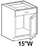 "Modular Bathroom Vanity Base Cabinet 15""W x 21""D x 34.5""H Click to Select Color"