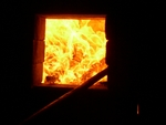 Fire Burning Inside Kiln