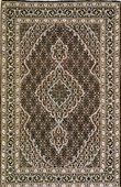 Fancy Wool & Silk Tabriz, Beige, Black, Rust