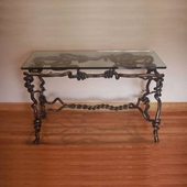 Hand Forged Metal & Glass Table