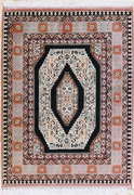 Semi-Antique Tabriz, Salmon, Navy, Beige