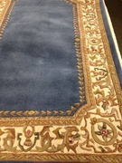 Blue/Cream 3.5x5.5 Wool Rug