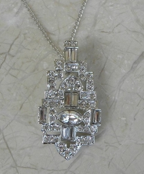 Kenneth Jay Lane Clear Crystal Deco Necklace