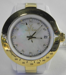 Toy Watch Heavy Metal Mini Gold & Crystals White