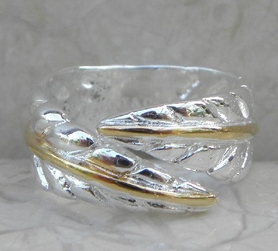 Alura  Silver Collection Two Tone Leaf Ring