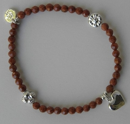 Good Charma Goldstone SS Heart Bracelet