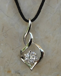 Alura  Silver Collection Twisted CZ Pendant