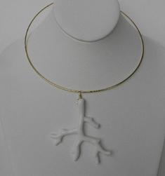 Kenneth Jay Lane White Hanging Branch Necklace