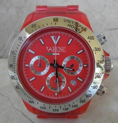VaBene Chronograph Watch Red & Silver