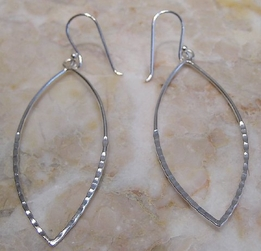Argento Vivo Open Marquis Hammered Silver Earrings