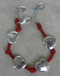 Good Charma SS Red Suede Puffed Heart Charm Bracelet