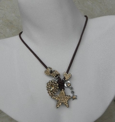 Otazu Crystal Star Brown Leather Necklace