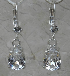 Otazu Clear Crystal Tear Drop Earrings