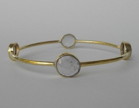 Jemma Sands Gold Rose Quartz Bangle Bracelet