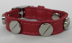 CC SKYE Silver Screw Bracelet Red Leather