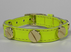 CC SKYE Bracelet Neon Yellow Leather Gold Screws